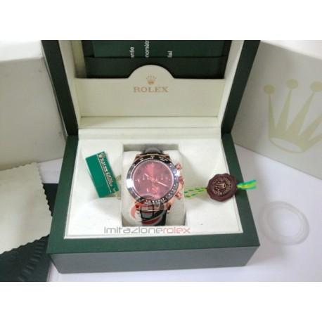 rolex replica daytona chocolate oro rosa ceramica pelle orologio copia imitazione