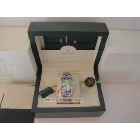 rolex replica pearlmaster white gold blue yellow bezel orologio copia imitazione