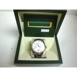 iwc replica portoghese acciaio argentèè dial strip leather chrono orologio copia imitazione