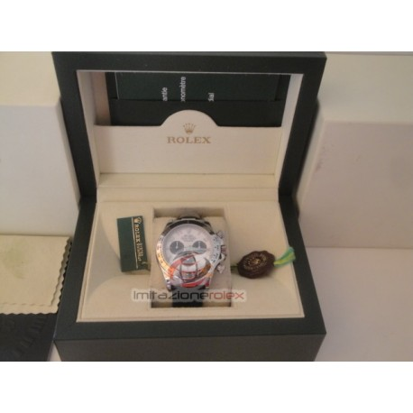 rolex replica daytona oro bianco cinturino pelle dial panda orologio copia imitazione