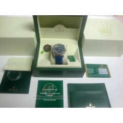 rolex replica day-date white gold strip leather blue orologio copia imitazione