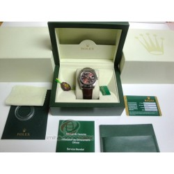 rolex replica day-date white gold strip leather cherry orologio copia imitazione