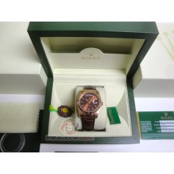rolex replica day-date rose gold chocolate strip leather orologio copia imitazione