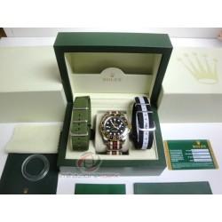 rolex replica GMT master II ceramichon acciaio oro black dial cordura by gucci orologio copia imitazione