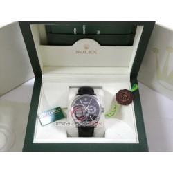 rolex replica cellini dual time black dial strip leather orologio copia imitazione