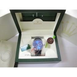 rolex replica cellini dual time blue dial strip leather orologio copia imitazione
